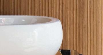 wood bathroom vanity details