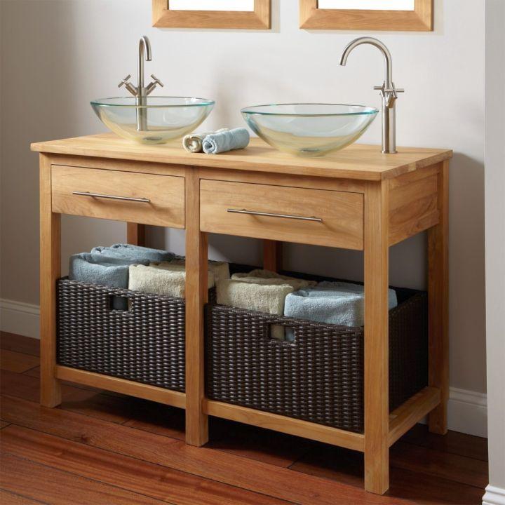 wood bathroom with bamboo basket