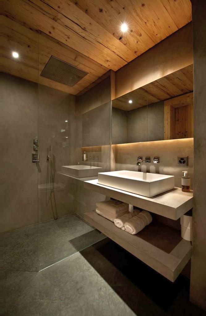 wood bathroom with floating marble vanity