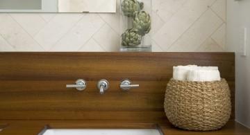 wood bathroom with rattan bowl