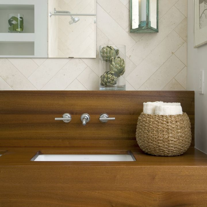 wood bathroom with rattan bowl