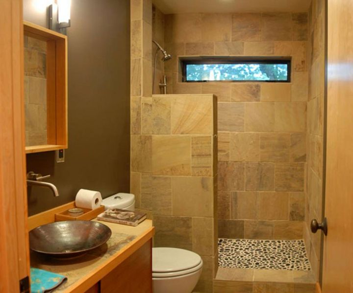 wood bathroom with small shower area