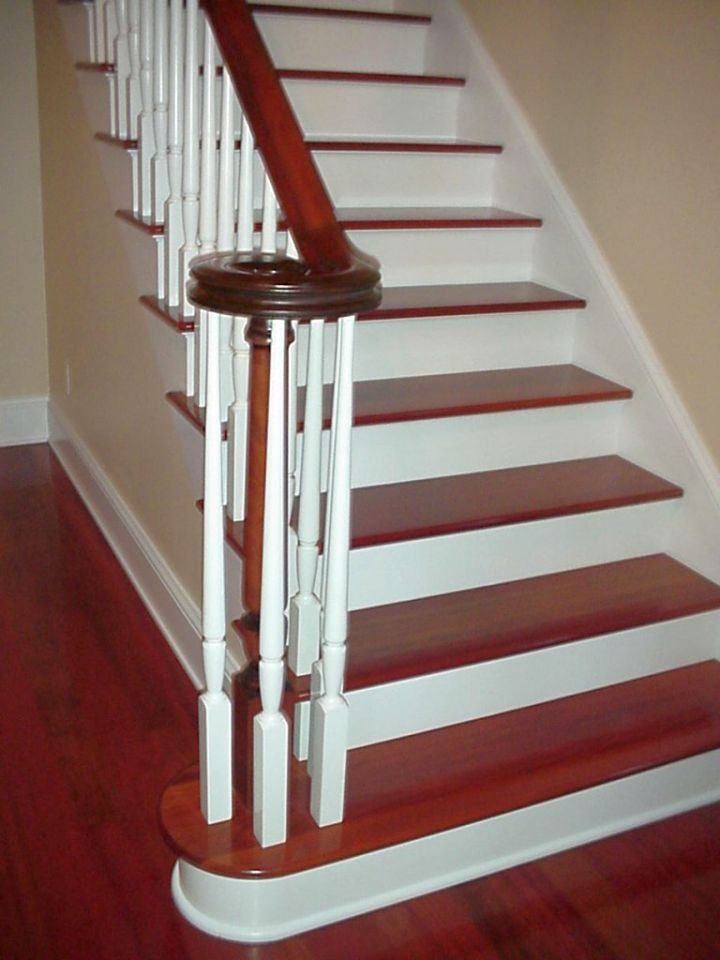 wood staircase with white linings