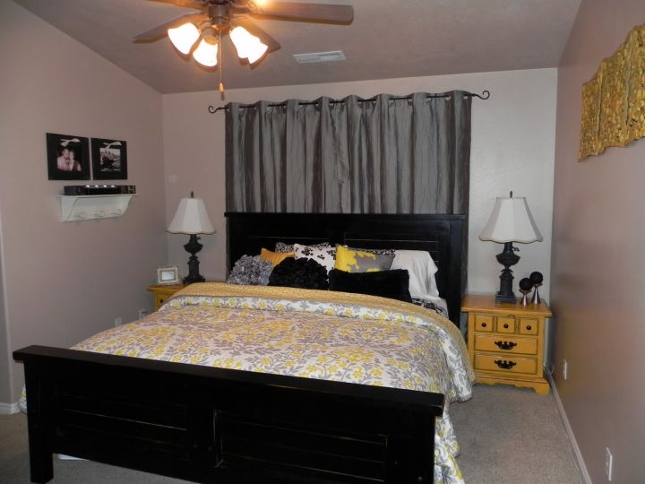yellow gray bedroom for small basement rooms