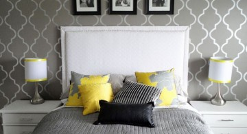 yellow gray bedroom with diamond wall panel