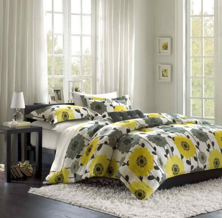 Great Yellow Gray Bedroom With Flower Bedding