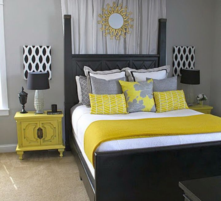 yellow gray bedroom with polkadot lamp shade