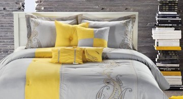 yellow gray bedroom with textured wall panel