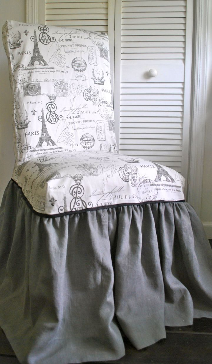 Vanity Stool Diy Stool: DIY Skirted Vanity Stool In Grey And White