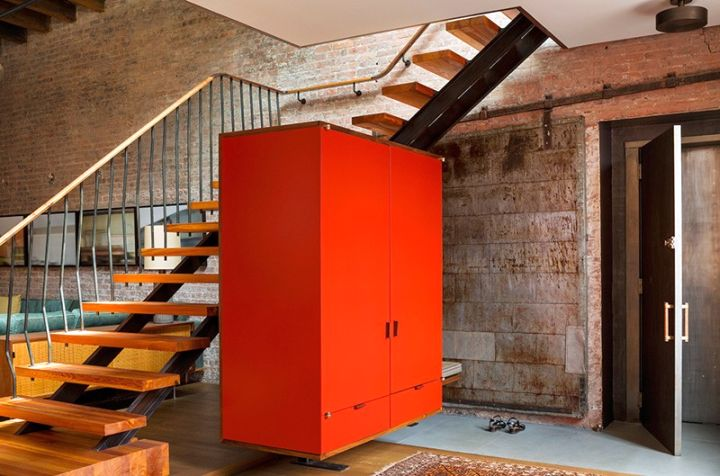 Tribeca Remodel floating red cupboard