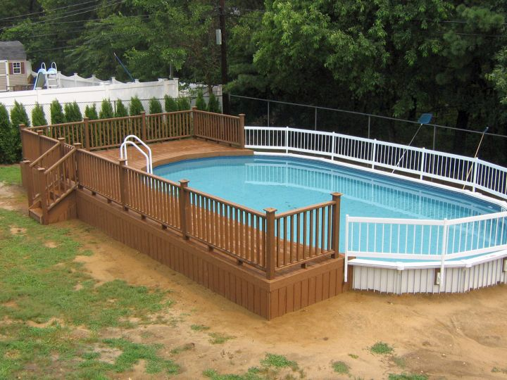 18 contemporary swimming pool wooden deck designs for Above ground pool with decks