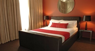 black and red bedroom ideas with large wall decor