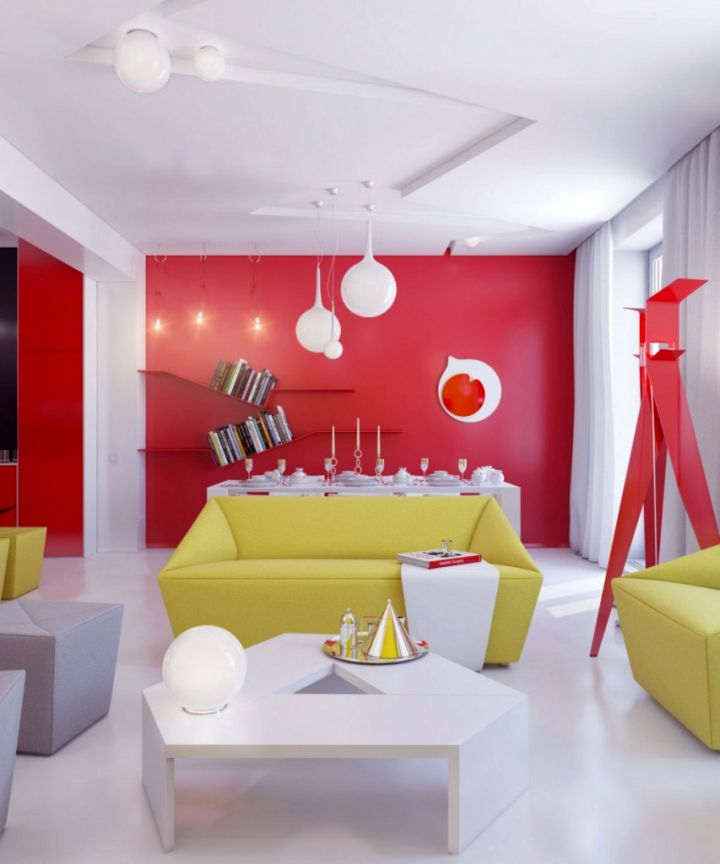 bright and contemporary red wall accent