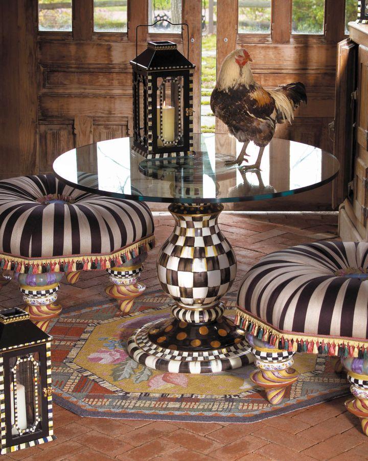 checkered pedestal table base ideas