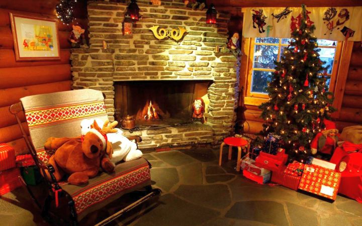 christmas room with presents in red