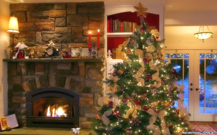 christmas room with stone fireplace