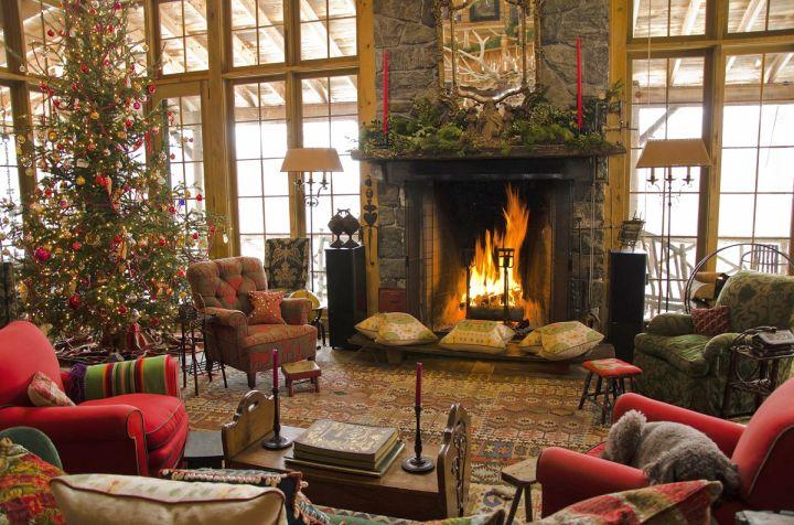 christmas room with tall windows