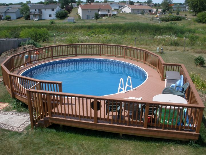 18 contemporary swimming pool wooden deck designs for Above ground pool decks orlando