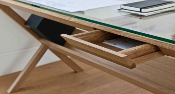 clear office desk glass topped wood