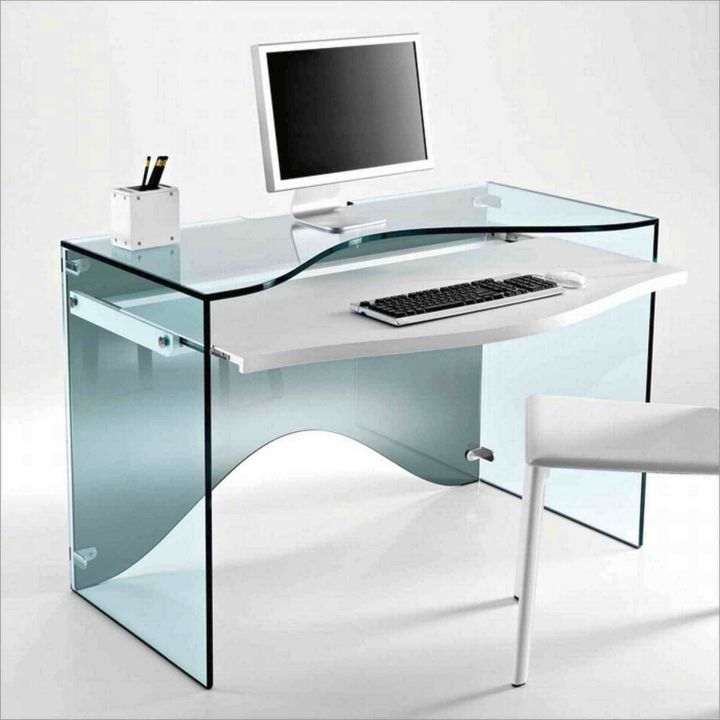 clear office desk lucite with hideaway