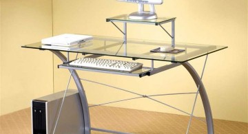 clear office desk with curved legs
