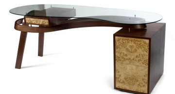 clear office desk with wood cabinet
