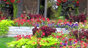 colorful terraced flower garden