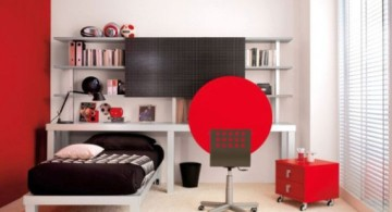 compact black and red bedroom ideas
