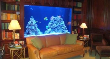 contemporary fish tank built in bookshelf