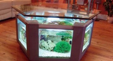 contemporary fish tank hexagonal desk