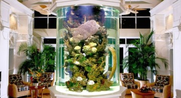 contemporary fish tank in living room