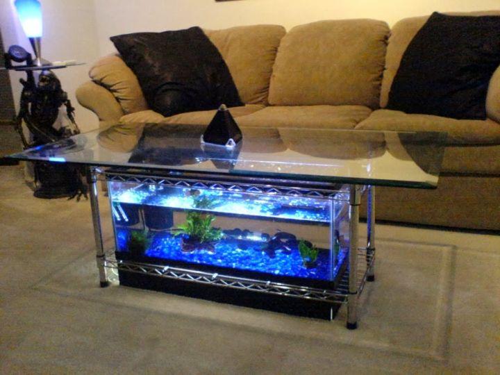 contemporary fish tank square table