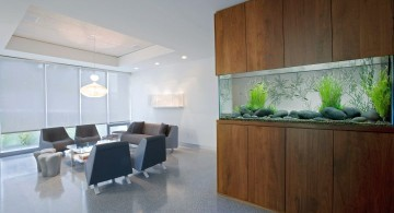 contemporary fish tank wide in the wall