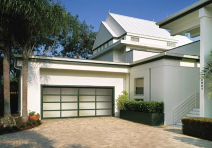contemporary garage attached to the house in white
