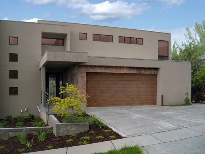 contemporary garage on modern house