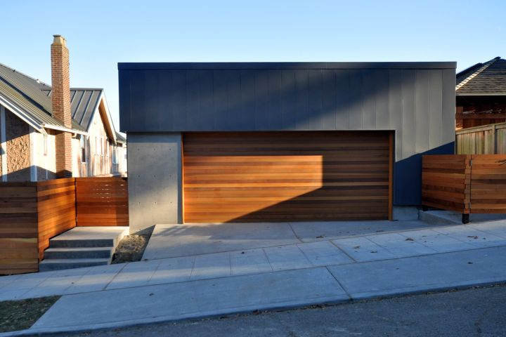 contemporary garage side road