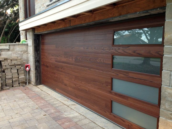 contemporary garage wood and glass