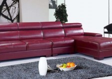 contemporary maroon living room furniture design L shaped sofa