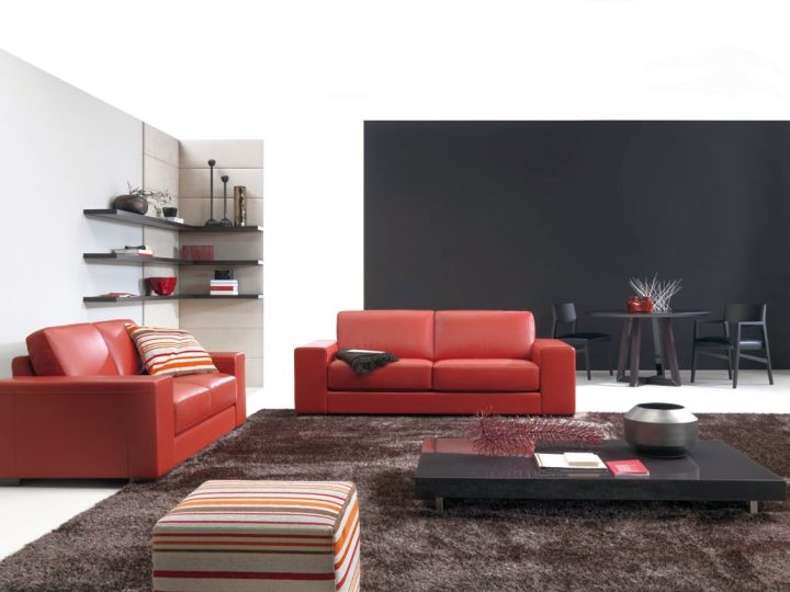 contemporary maroon living room