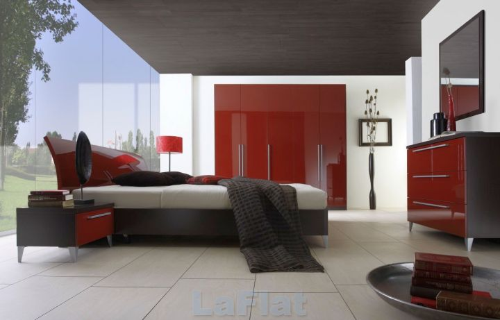 contemporary minimalist black and red bedroom ideas