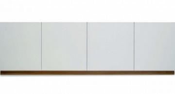 contemporary white lacquer credenza