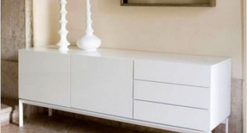 contemporary white lacquer credenza with one swing door