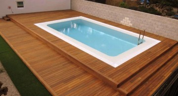 contemporary wood pool deck