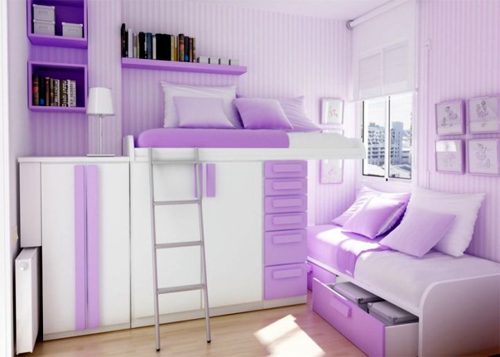 cool ideas for bedroom in white and purple