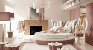 cool ideas for bedroom with round bed and fireplace