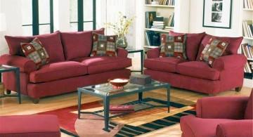 cozy maroon living room