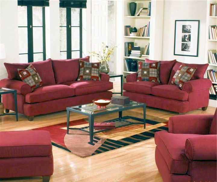cozy maroon living room