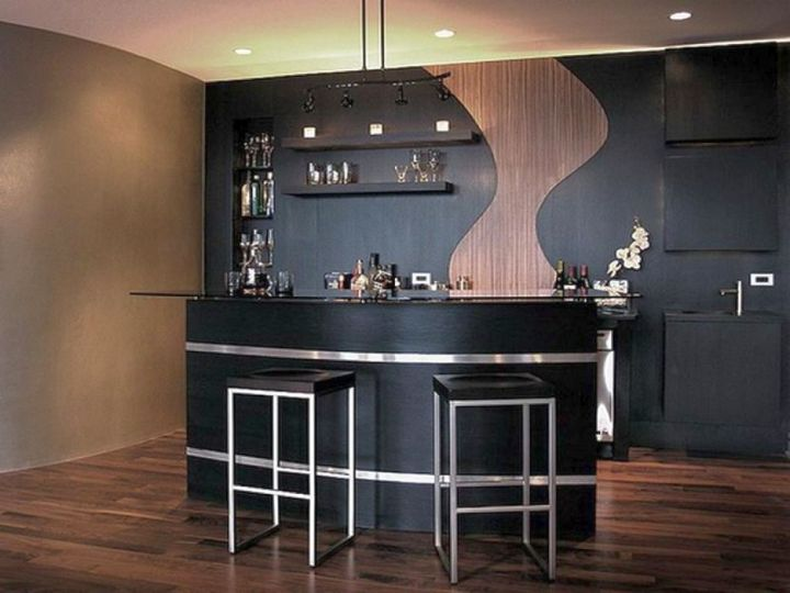 dark and glamorous modern home bar design