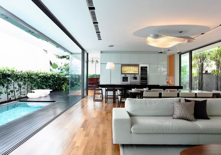 Detached modern bungalow by hyla design singapore for Simple living room design singapore