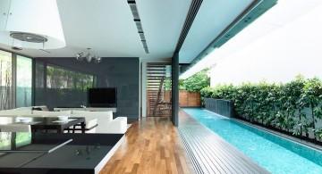 detached modern house pool side